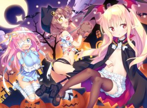 Rating: Questionable Score: 39 Tags: ass bandages bloomers breast_hold garter halloween heels ichi_makoto loli no_bra pointy_ears tail thighhighs torn_clothes wings User: Mr_GT