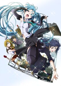 Rating: Safe Score: 43 Tags: hatsune_miku kagamine_rin shiika_sadamasa thighhighs vocaloid User: demonbane1349