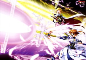 Rating: Safe Score: 18 Tags: dress fate_testarossa mahou_shoujo_lyrical_nanoha takamachi_nanoha weapon User: drop