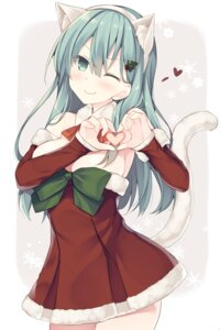 Rating: Safe Score: 61 Tags: animal_ears christmas dress kantai_collection miko_92 nekomimi suzuya_(kancolle) tail User: Mr_GT