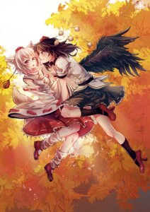Rating: Safe Score: 32 Tags: animal_ears inubashiri_momiji pg_(pgouwoderen) shameimaru_aya tail touhou wings User: Zenex