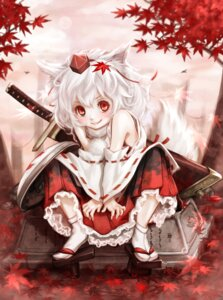 Rating: Safe Score: 26 Tags: animal_ears hoshibuchi inubashiri_momiji miko sword tail touhou User: Mr_GT