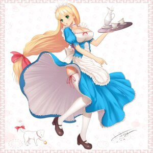 Rating: Questionable Score: 64 Tags: clalaclan_philias cleavage dress ltt_challenger maid shining_tears shining_wind shining_world skirt_lift stockings thighhighs User: mul999@163.com