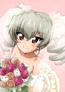 Rating: Safe Score: 11 Tags: anchovy cleavage dress girls_und_panzer kanau wedding_dress User: drop