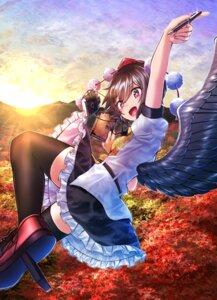 Rating: Safe Score: 13 Tags: kakutasu_(akihiron_cactus) shameimaru_aya skirt_lift thighhighs touhou wings User: Mr_GT
