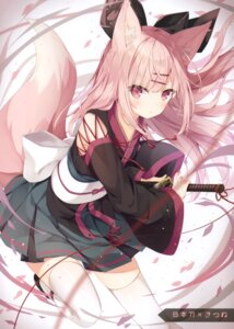 Rating: Questionable Score: 78 Tags: animal_ears hoshi japanese_clothes kitsune sword tagme tail thighhighs User: kiyoe