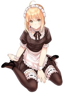 Rating: Safe Score: 28 Tags: fate/grand_order heels lq_saku maid saber thighhighs User: Arsy