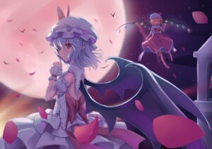 Rating: Safe Score: 26 Tags: dress flandre_scarlet pointy_ears remilia_scarlet sonikey touhou wings User: charunetra