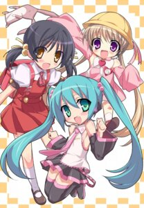 Rating: Safe Score: 17 Tags: eeee hatsune_miku jpeg_artifacts kaai_yuki thighhighs tsukuyomi_ai vocaloid User: Chris086