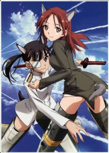 Rating: Questionable Score: 18 Tags: animal_ears eyepatch minna_dietlinde_wilcke sakamoto_mio strike_witches sword tail takamura_kazuhiro uniform User: Arilando