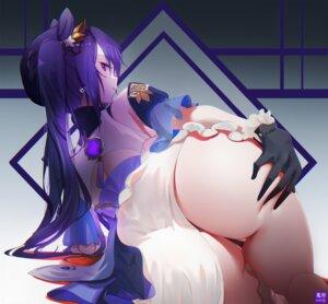 Rating: Questionable Score: 90 Tags: asian_clothes ass genshin_impact keqing_(genshin_impact) omone_hokoma_agm pantsu skirt_lift thong User: xaephi