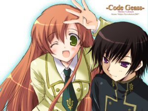 Rating: Safe Score: 14 Tags: code_geass ikegami_akane lelouch_lamperouge seifuku shirley_fenette wallpaper User: admin2