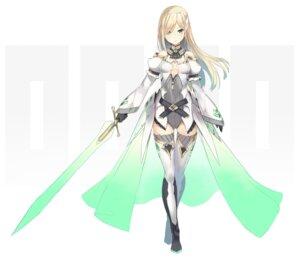 Rating: Safe Score: 31 Tags: cleavage nanashina no_bra sword thighhighs User: fairyren
