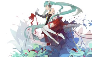 Rating: Safe Score: 31 Tags: hatsune_miku headphones huanxiang_heitu thighhighs vocaloid User: DarkRoseofHell