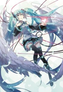 Rating: Safe Score: 41 Tags: hatsune_miku headphones rella vocaloid wings User: starrin