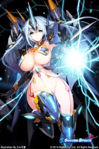 Rating: Questionable Score: 148 Tags: bottomless breasts cleavage horns mecha_musume pasties snowball soccer_spirits tattoo thighhighs wings User: KazukiNanako