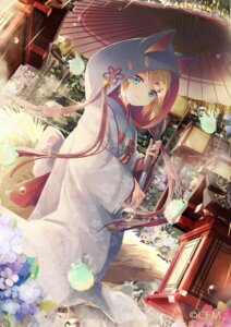 Rating: Safe Score: 71 Tags: animal_ears daidou japanese_clothes kagamine_rin kitsune tail umbrella vocaloid User: Mr_GT
