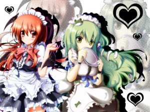 Rating: Safe Score: 21 Tags: koakuma kochiya_sanae maid shinzo_midori touhou wallpaper wings User: 椎名深夏