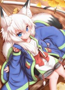 Rating: Safe Score: 7 Tags: animal_ears horokusa kitsune sword tail User: dick_dickinson