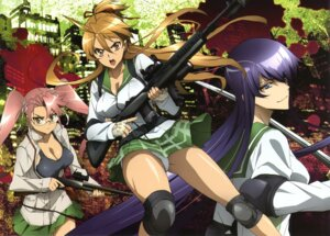 Rating: Questionable Score: 52 Tags: busujima_saeko gun highschool_of_the_dead megane miyamoto_rei pantsu seifuku takagi_saya User: blooregardo