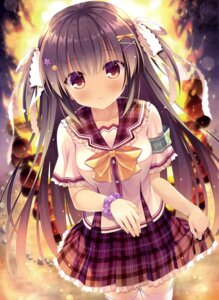 Rating: Questionable Score: 48 Tags: possible_duplicate seifuku skirt_lift takano_yuki thighhighs User: drop