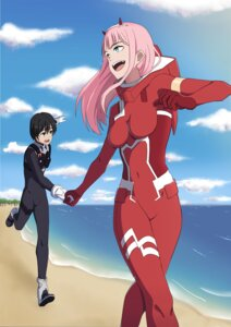 Rating: Safe Score: 5 Tags: 463093780 bodysuit darling_in_the_franxx hiro_(darling_in_the_franxx) horns zero_two_(darling_in_the_franxx) User: mira-pyon
