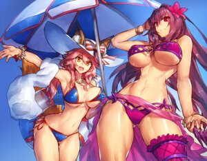 Rating: Safe Score: 62 Tags: animal_ears bikini breast_hold caster_(fate/extra) erect_nipples fate/grand_order garter melon22 scathach_(fate/grand_order) swimsuits tail underboob weapon User: mattiasc02