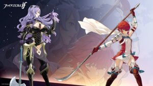Rating: Questionable Score: 22 Tags: armor camilla cleavage dress fire_emblem fire_emblem_if hinoka kozaki_yuusuke nintendo see_through stockings thighhighs wallpaper weapon User: fly24