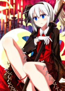 Rating: Safe Score: 18 Tags: konpaku_youmu sazanami_mio skirt_lift sword touhou User: Mr_GT