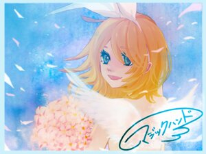 Rating: Safe Score: 5 Tags: asami_natsu autographed kagamine_rin vocaloid wallpaper wings User: charunetra