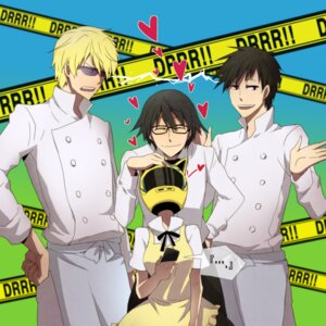 Rating: Safe Score: 12 Tags: celty_sturluson cosplay durarara!! heiwajima_shizuo kishitani_shinra megane mir orihara_izaya parody working!! User: Radioactive