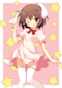 Rating: Safe Score: 37 Tags: animal_ears bunny_ears dress inaba_tewi thighhighs touhou yamasan User: Nekotsúh