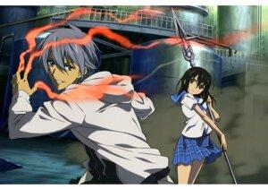 Rating: Safe Score: 15 Tags: akatsuki_kojou himeragi_yukina myouchin_usaku seifuku skirt_lift strike_the_blood weapon User: drop