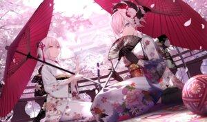 Rating: Safe Score: 81 Tags: fate/grand_order kimono miyamoto_musashi_(fate/grand_order) okita_souji sakura_saber shinooji umbrella User: hiroimo2