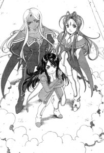 Rating: Safe Score: 6 Tags: ah_my_goddess belldandy bodysuit cleavage fujishima_kousuke monochrome skuld urd User: minakomel