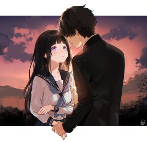 Rating: Questionable Score: 18 Tags: breast_hold chitanda_eru hyouka mery_(apfl0515) oreki_houtarou seifuku User: Dreista