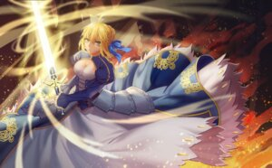Rating: Safe Score: 21 Tags: armor cleavage dress fate/stay_night maomaozi saber sword User: mash
