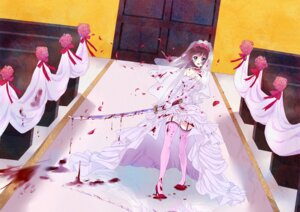 Rating: Questionable Score: 28 Tags: blood dress heels mirakururu stockings sword thighhighs wedding_dress yandere User: dreamer2908