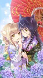 Rating: Safe Score: 41 Tags: amano_sakuya animal_ears kimono konohana_kitan satsuki_(konohana_kitan) umbrella yuzu_(konohana_kitan) User: Mr_GT