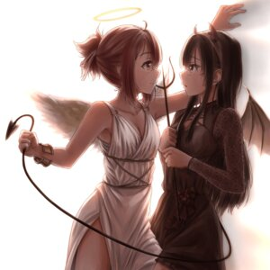 Rating: Safe Score: 18 Tags: angel cleavage devil dress horns itaro koori_chikage nogi_wakaba_wa_yuusha_de_aru tail takashima_yuuna weapon wings yuri yuuki_yuuna_wa_yuusha_de_aru User: leotard