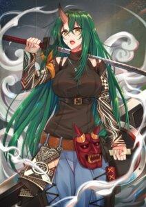 Rating: Safe Score: 13 Tags: arknights horns hoshiguma_(arknights) sweater sword tsang_yu_chun User: charunetra