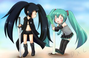 Rating: Safe Score: 8 Tags: black_rock_shooter black_rock_shooter_(character) hatsune_miku sword tagme thighhighs vocaloid User: yumichi-sama