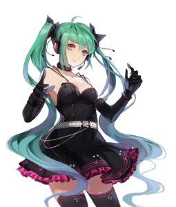 Rating: Safe Score: 39 Tags: cleavage dress hatsune_miku headphones limobok no_bra thighhighs vocaloid User: Mr_GT