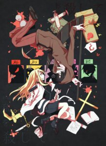Rating: Safe Score: 24 Tags: a_(senyuarr) bandages blood gun isaac_foster rachel_gardner satsuriku_no_tenshi weapon User: charunetra