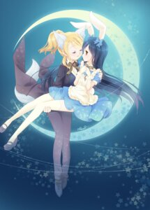 Rating: Safe Score: 27 Tags: animal_ears ayase_eli bunny_ears dress heels love_live! mimori_(cotton_heart) sonoda_umi tail thighhighs User: Mr_GT