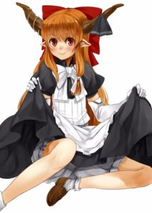 Rating: Safe Score: 22 Tags: bloomers dress horns ibuki_suika nishiuri pointy_ears skirt_lift touhou User: KazukiNanako