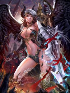 Rating: Questionable Score: 41 Tags: armor bikini_armor cleavage horns ken_(artist) sword thighhighs wings User: Mr_GT
