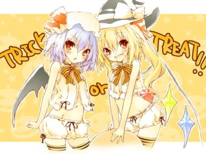 Rating: Questionable Score: 19 Tags: bloomers flandre_scarlet halloween remilia_scarlet saeki_thoma thighhighs touhou wings User: fairyren