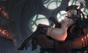 Rating: Questionable Score: 106 Tags: ass bloodborne breasts heels lady_maria_of_the_astral_clocktower nipples no_bra pantsu panty_pull robutts thighhighs User: charunetra