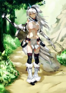 Rating: Questionable Score: 53 Tags: cleavage grandgua horns kirin_(armor) monster_hunter open_shirt sarashi see_through sword thighhighs underboob User: Mr_GT